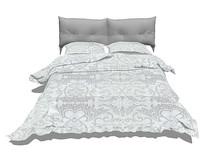 北欧风格的浅灰色花纹床铺SU模型