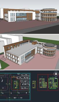 餐厅食堂草图SU模型含CAD