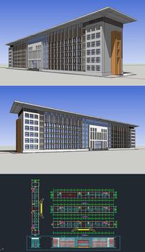 多层办公楼草图模型带CAD图
