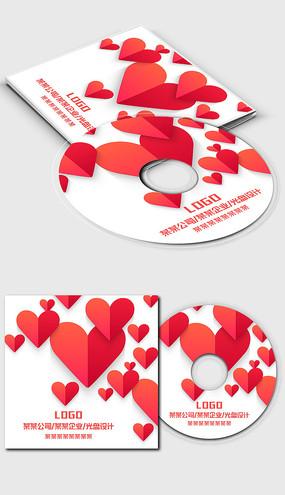 红色爱心桃心光盘封面设计模板