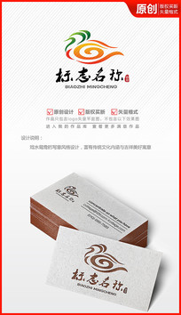 吉祥祥云鸳鸯logo设计商标标志