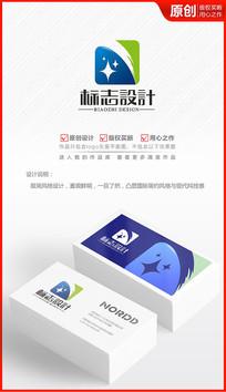 科技蓝天星星logo设计商标标志设计