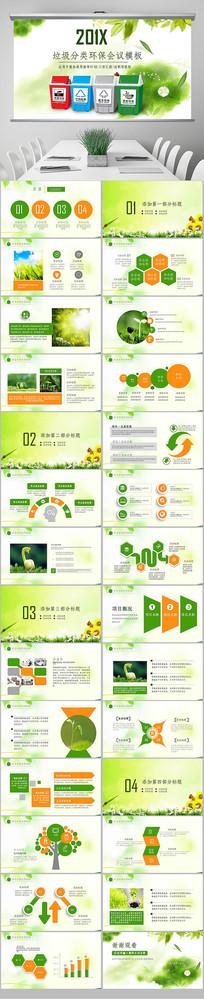垃圾分类绿色城市环境低碳环保局PPT