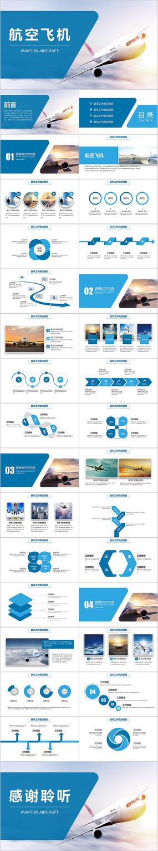 蓝色航空物流运输航空飞机总结计划PPT