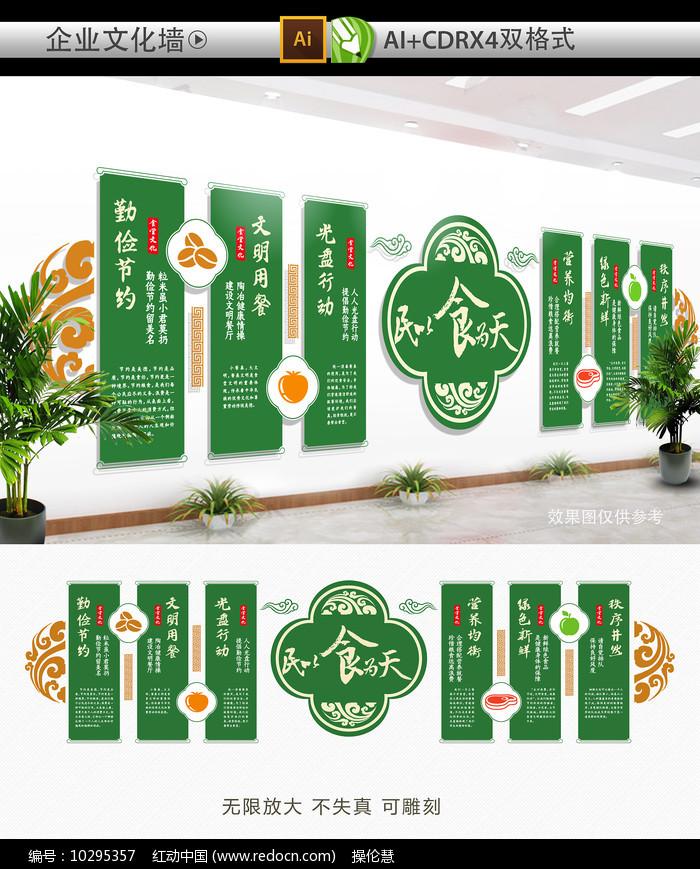 绿色大气食堂文化墙图片