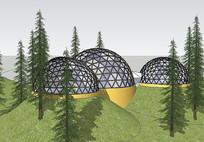 山体穹顶建筑组合模型