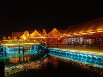 中式建筑灯光夜景