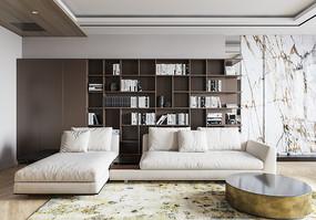 摆满书籍的客厅