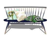 北欧风格放特色抱枕的靠背椅SU模型