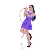 唱歌女孩插画
