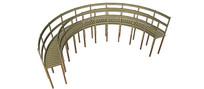 带栏杆的弯曲木板路SU模型