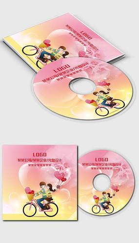 粉色卡通婚庆婚礼光盘封面设计