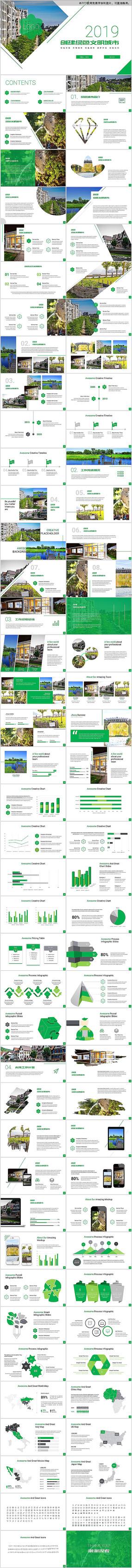 清新创建绿色文明城市PPT