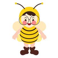 原创元素卡通蜜蜂小孩