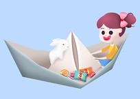 原创元素六一小孩坐纸船