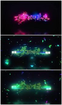 震撼大气霓虹灯碎片展示文字标题视频模板