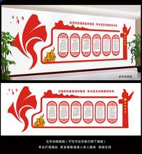 红色华表创意异形文化墙设计