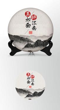 江南如画茶叶棉纸茶饼包装设计