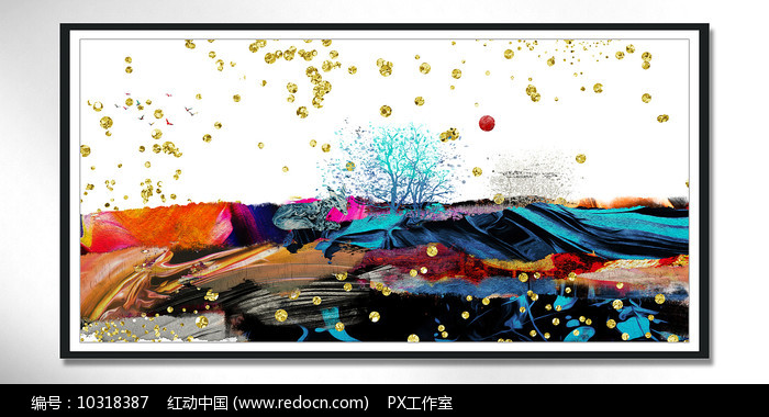 大堂新中式水晶装饰画图片