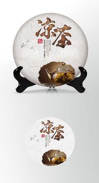 古典凉茶茶叶棉纸茶饼包装设计