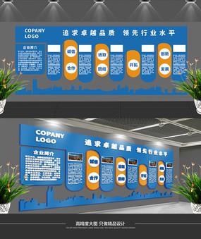 简约蓝色公司文化墙