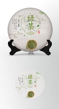 绿茶清新茶叶棉纸茶饼包装设计