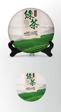 绿茶文化茶叶棉纸茶饼包装设计
