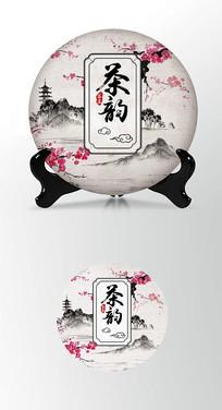 桃花茶叶棉纸茶饼包装设计