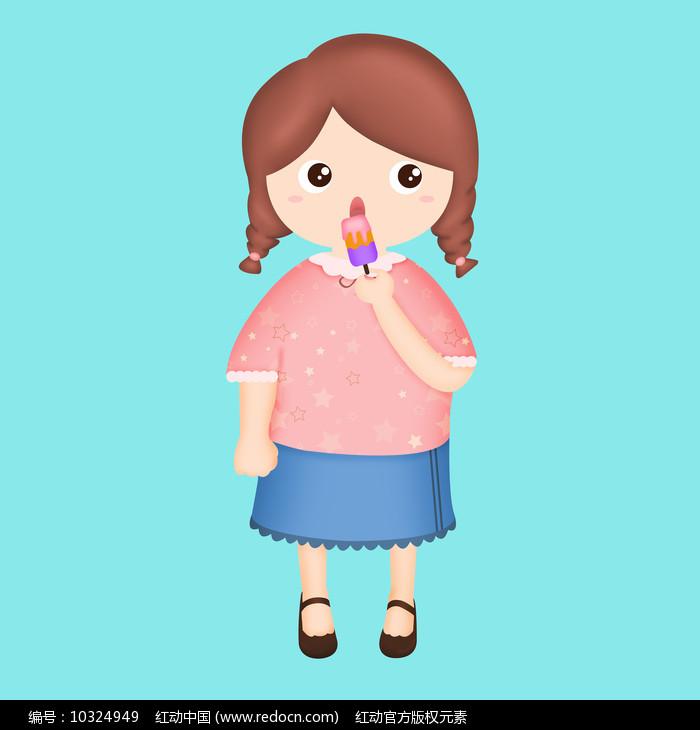 原创插画吃冰棍的小女孩图片