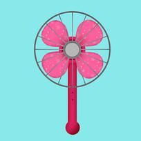 原创夏日卡通风扇元素