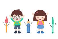 原创元素手绘卡通男孩女孩学习用品