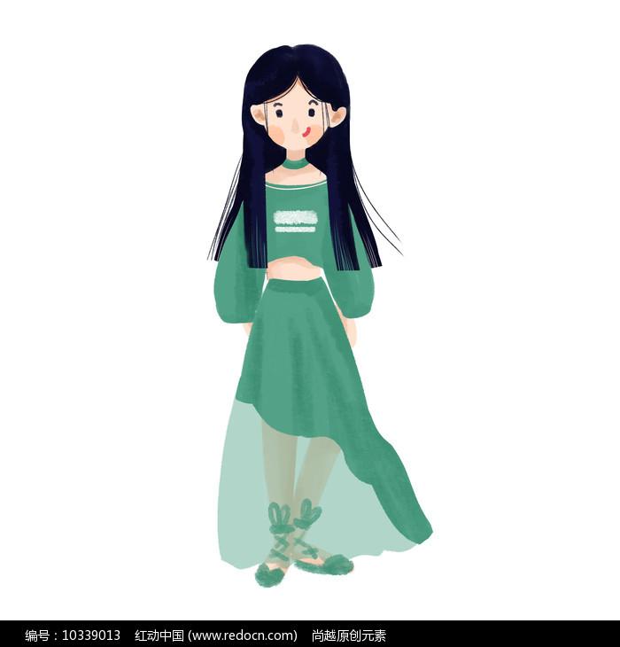 手绘女孩郊游插画元素图片
