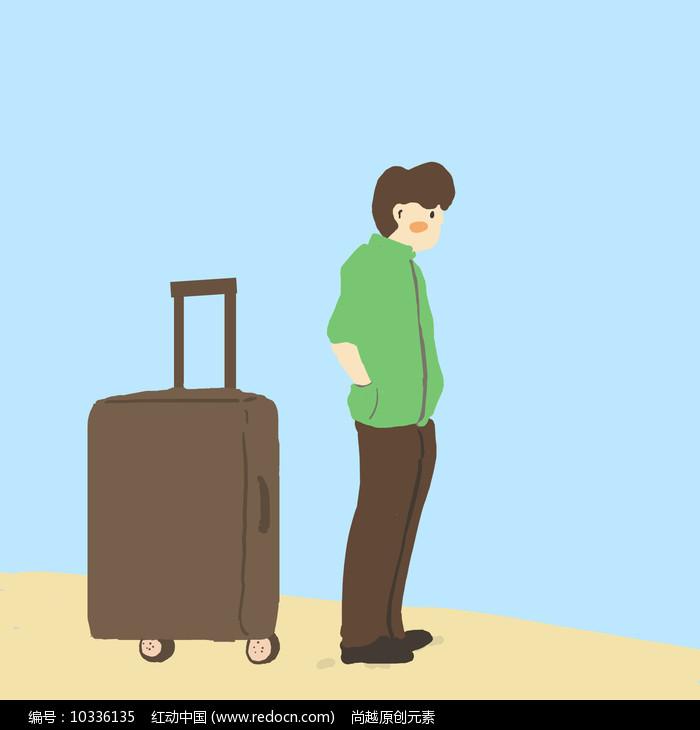 原创男孩和行李箱旅行元素图片