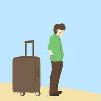 原创男孩和行李箱旅行元素