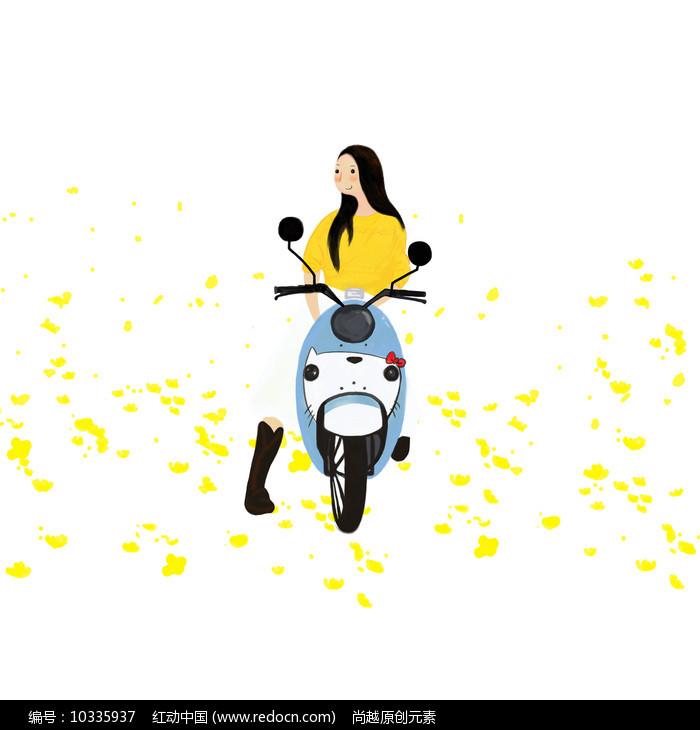 原创女孩骑电瓶车旅游插画元素图片