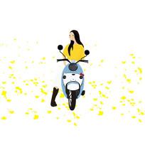原创女孩骑电瓶车旅游插画元素