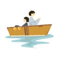 原创手绘船上旅游元素