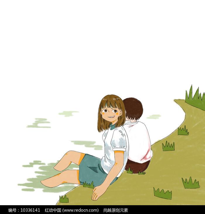 原创手绘卡通情侣在田野春游元素图片