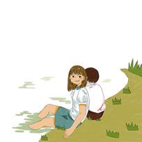 原创手绘卡通情侣在田野春游元素