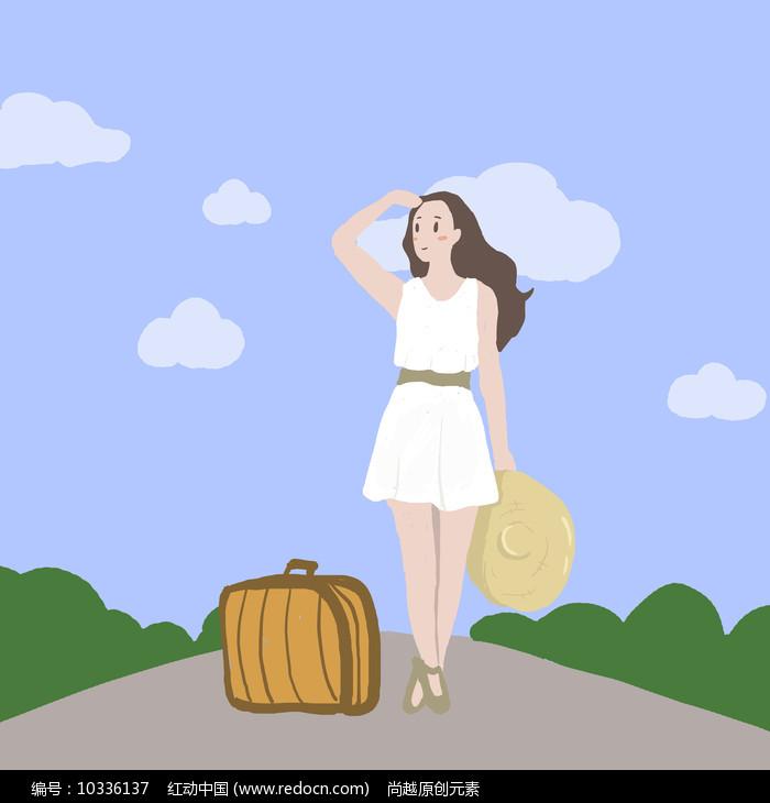原创手绘女孩去旅行插画图片