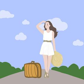 原创手绘女孩去旅行插画