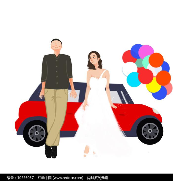 原创手绘情侣婚礼旅行元素图片