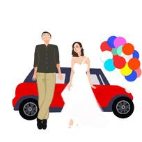 原创手绘情侣婚礼旅行元素