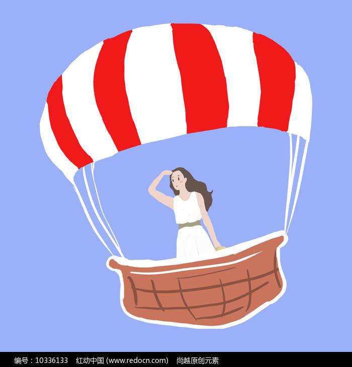 原创手绘热气球旅行元素图片