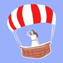 原创手绘热气球旅行元素