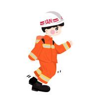 卡通手绘消防员元素