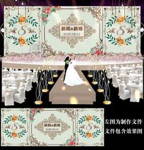 时尚碎花婚礼迎宾舞台背景板