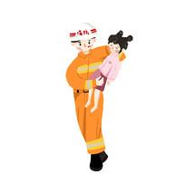 手绘卡通消防员救人插画元素