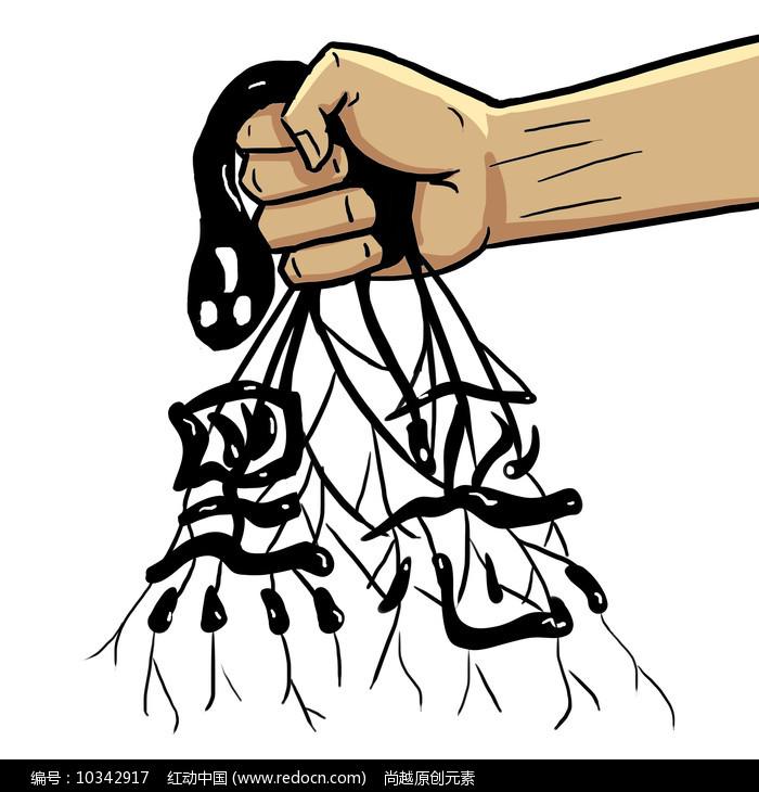 原创手绘扫黑除恶铲除黑恶势力漫画元素图片