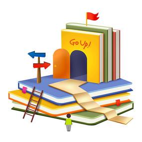 原创元素教育卡通书屋